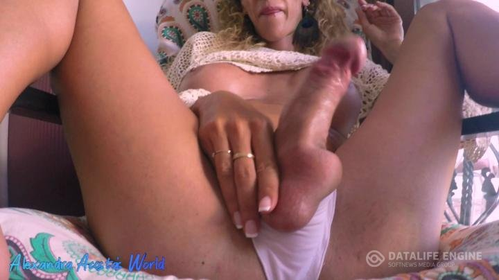 Alexandra Acosta-Manyvids-tgirl high heels and double cum on the couch