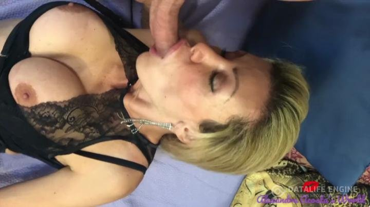 Mercurielle-transsexual in lingerie sucking cock close up
